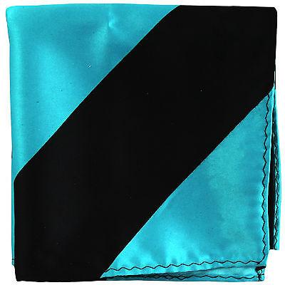 Ben Informato Nuovo Da Uomo Poly Righe Tasca Quadrato Fazzoletto Fazzoletto Blu Turchese Nero Promuovi La Produzione Di Fluidi Corporei E Saliva