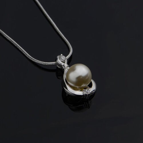 Jewelry Fashion Silver Crystal Pearl Pendant Necklace Chain Women Xmas Gift