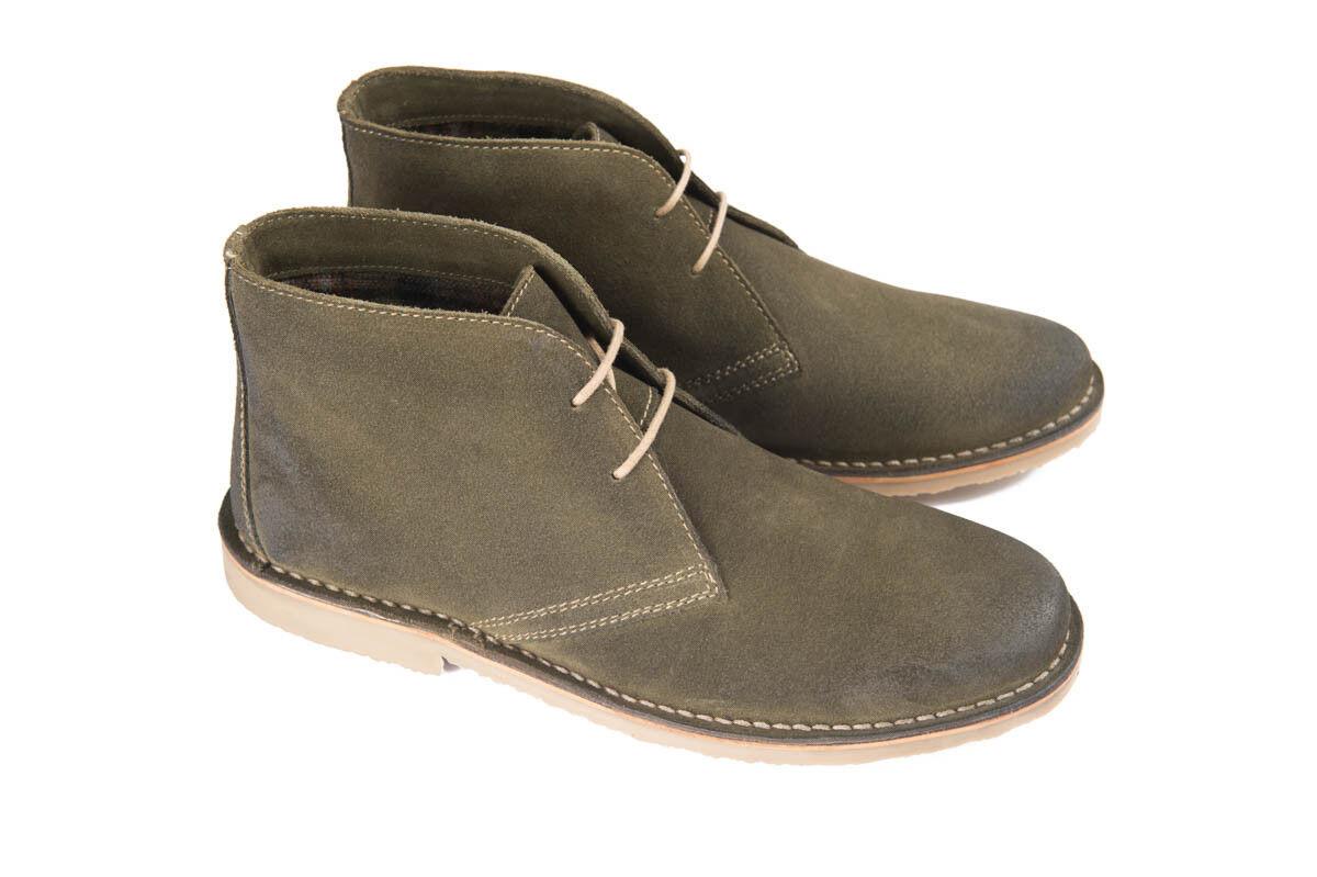 Ikon Canyon verde Caqui para Hombre De Ante Desierto botas al Tobillo Zapatos Con Cordones 60s Rock