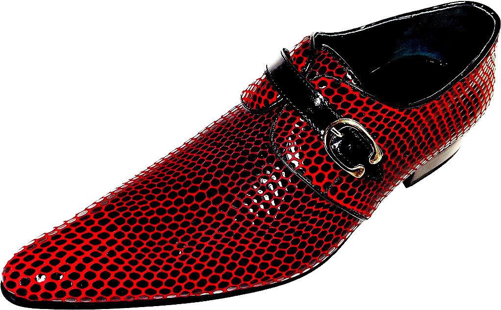 100% Chelsy-Designer Italiano Festa Slipper rete PATTERN NERO ROSSO 39 Scarpe classiche da uomo