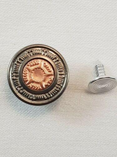 Jeans de Superdry Botones Martillo 17 mm en Centro De Bronce Antiguo//Alta Calidad-Paquete de 10