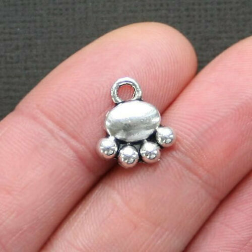 SC2716 10 Dog Paw Charms Antique Silver