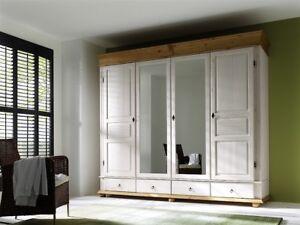 Details zu Kleiderschrank Kiefer massiv Landhausstil weiß antik Oslo  Schrank Schlafzimmer