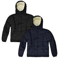 Boys Lined Winter Coat Kids Hooded Warm Zip Jacket Black Navy New Age 3-12 Years