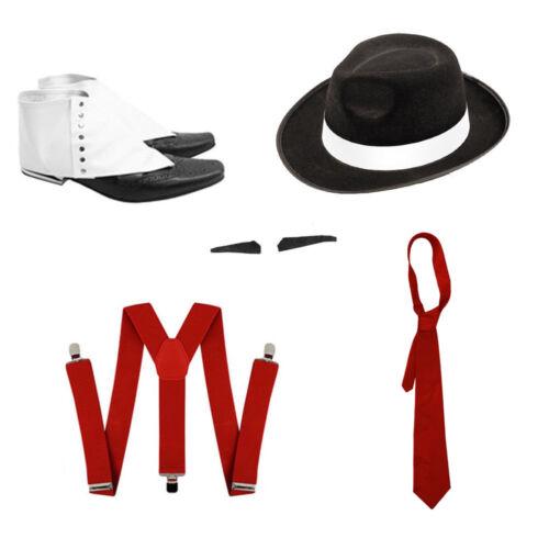 RED TIE BLACK GANGSTER HAT WHITE BAND BRACES SPIV TASH SPATS SET FANCY DRESS
