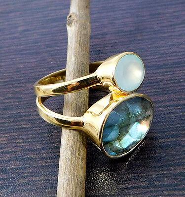 925 Sterling Silver 6.62g Labradorite, Chalcedony Gemstone Ring Size 6 M6R069