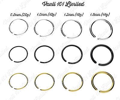 Fake Piercing Ring Nose Lip Ear Body SILVER, BLACK, GOLD Various Sizes & Gauges