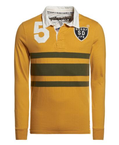 NUOVA linea uomo Superdry FACTORY secondo LEGGENDE del mondo Rugby Maglietta lavata Oro Mix