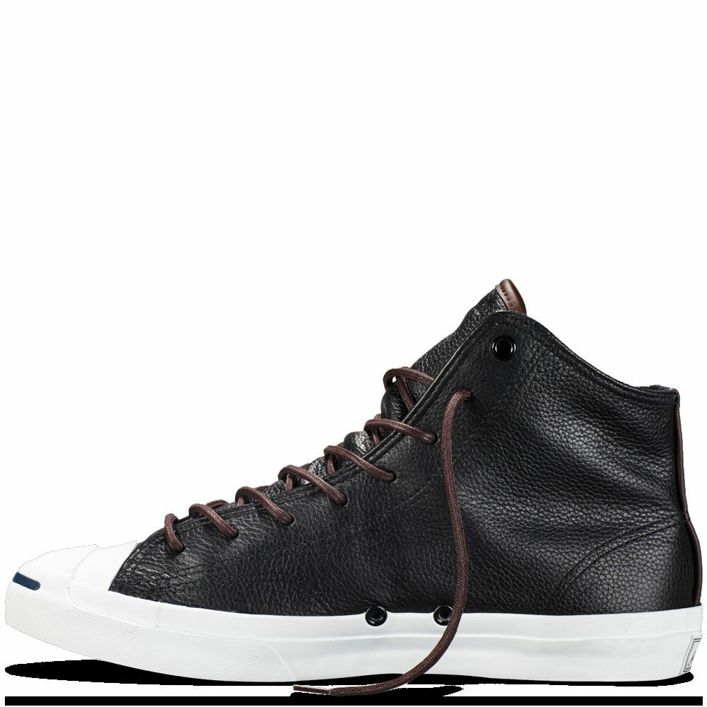 NIB 95 Converse Jack Purcell Mid Tumbled Leather Black/Burnt 149937C US Mens 10