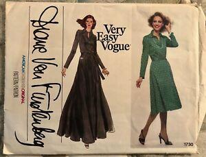 DVF Vintage 1970s VOGUE Sewing Pattern Diane Von Furstenberg Dress FACTORY FOLDS