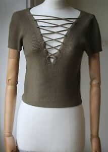 Wang Alexander T Up By Ribbed Crop Top Small Lace EpEq5