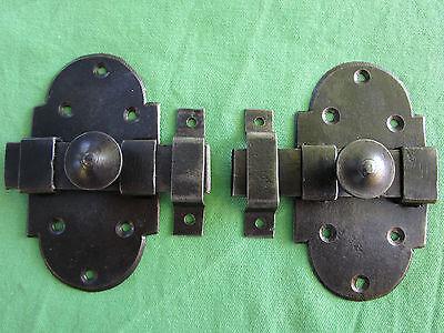 2 targettes boutons gâches verrous fer anciennes hauteur 10,9 x 6 cm largeur