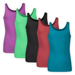 Girls-Plain-Stretchy-Cotton-Jersey-Vest-Top-Sensible-Kids-Sleeveless-T-Shirt