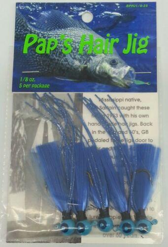 Pap/'s Hair Jigs 1//8 oz Crappie Jigs Blue//Blue Qty 5