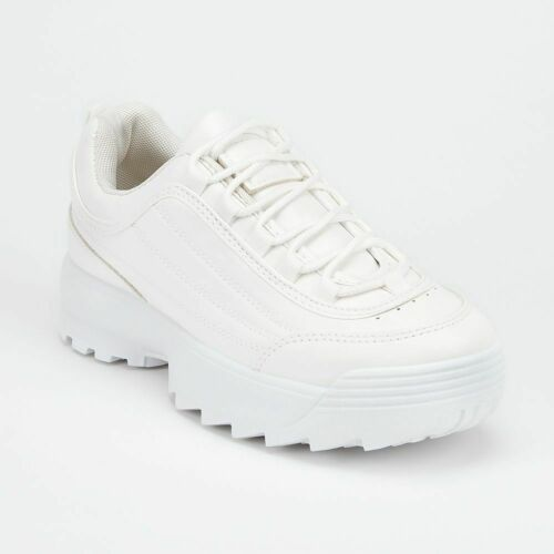 Womens Ladies White Chunky Sole Fashion Sports Trainers Size 3 4 5 6 7 8