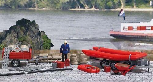 Piste h0 Busch 1077 Pompiers-Set Protection contre les inondations