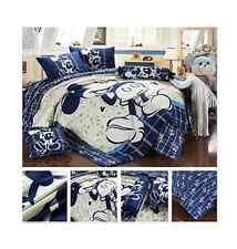 Mickey Mouse Navyy Blue Creme White - 4 Piece Queen Duvet Set -100% Cotton