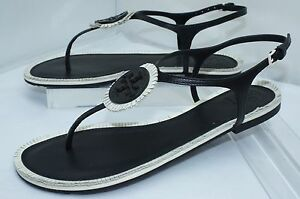 7829a399fafc New Tory Burch Marion Quilted Sandals Black Shoes Size 8 Thongs ...
