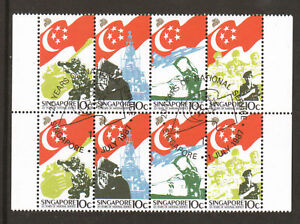 Singapore Sc 506a used. 1987 National Service, block of 8, VF.