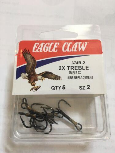 QTY: 5 2x Treble Hooks Eagle Claw Bronze Size 2 14 4 Select Size