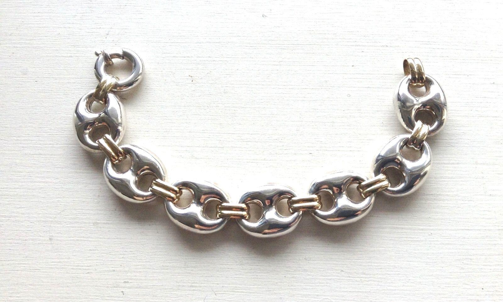 Signed  925 + 18K Mariner Anchor Link Bracelet 7  24 grams