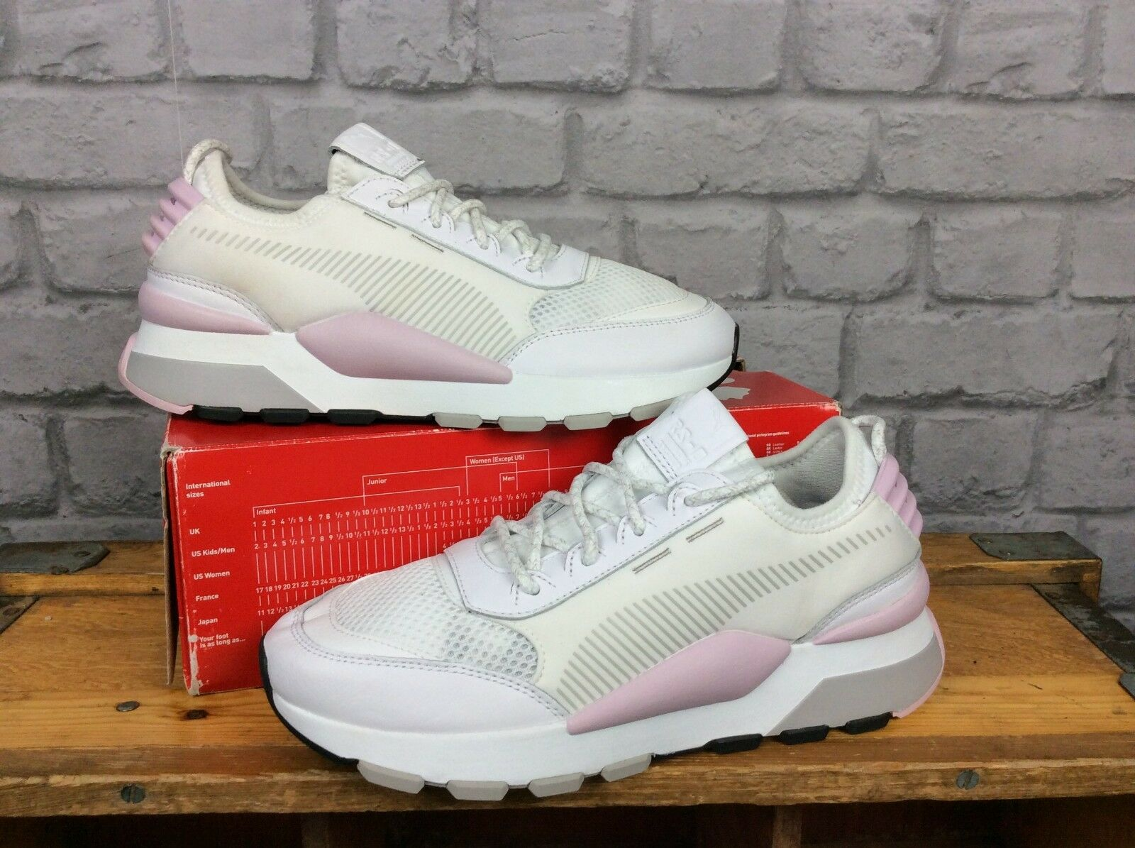 PUMA LADIES UK 6 EU 39 Wei  PINK GREY RS-0 PLAY RUNNING TRAINERS