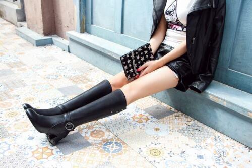 Ladies Riding Real Leather Buckle Strap Block Zip Block Heels Knee High Boots