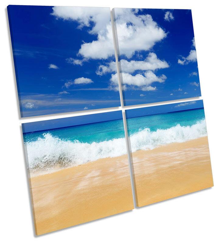 Beach FLORA moderno art. a muro Blu Multi Stampa quadrato