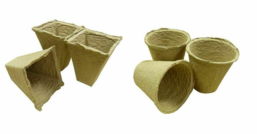 20 Biodegradable Peat Free Fibre Pots Square or Round Garden Plant Seed Cup