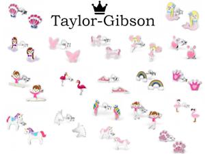 925-Sterling-Silver-Earrings-Studs-Unicorn-Flamingo-Mermaid-Glitter-Pink-Girls