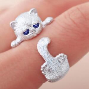 AU-925-Sterling-Silber-gestempelt-Weissgold-Kitty-Cat-Paw-verstellbarer-Ring-AU