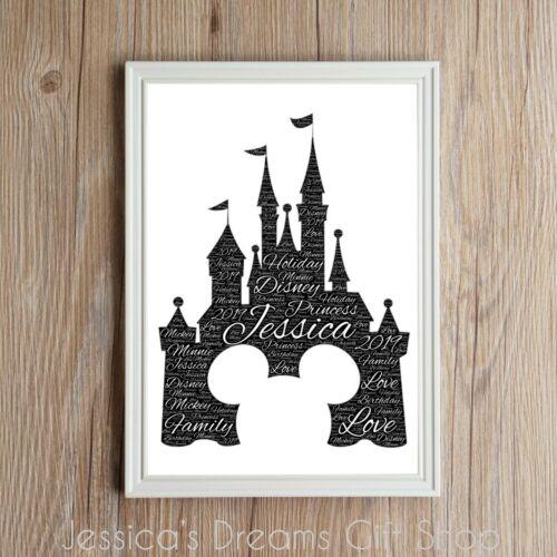 PERSONALISED Princess Mickey Mouse Castle Disney Word Art Gift Keepsake Birthday