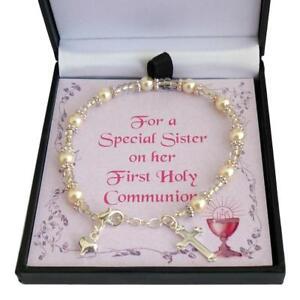 Regalo Para Ahijada.Detalles De Primera Sagrada Comunion Brazalete Para Hija Ahijada Hermana Regalo Para Nina