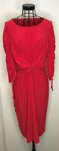 Stunning-BIBA-Ladies-Red-Ruched-Midi-Stretchy-Dress-UK-12-Christmas-Party
