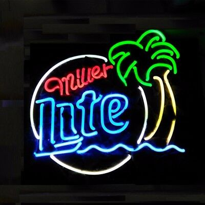 "New Miller Lite Palm Tree.Neon Sign Beer Bar Pub Gift Light 17/""x14/"""
