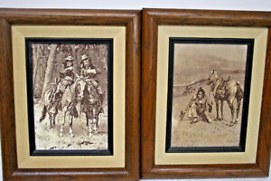 LITHOGRAPH-ETCHINGS-by-FREDERIC-REMINGTON-NATIVE-AMERICAN-COWBOY-ARTIST-2-Count