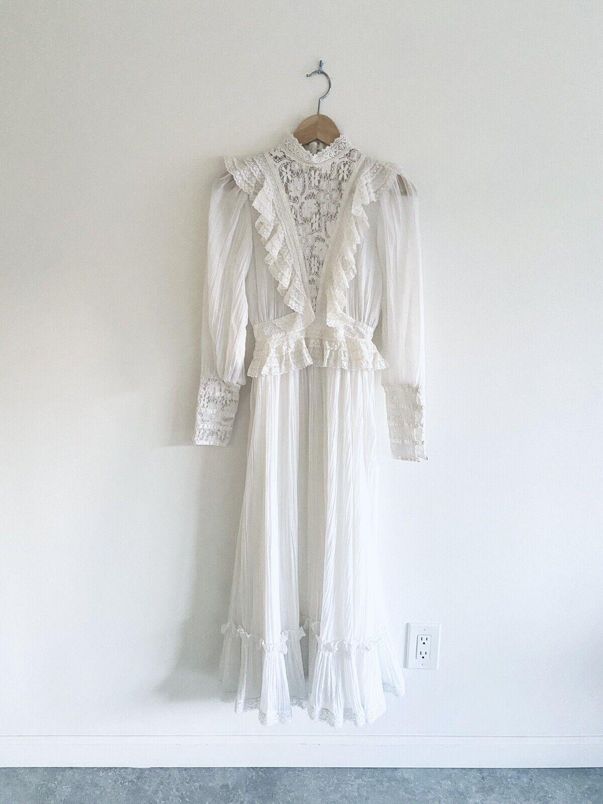 Vintage GUNNE SAX White Cotton Prairie Maxi Dress… - image 11