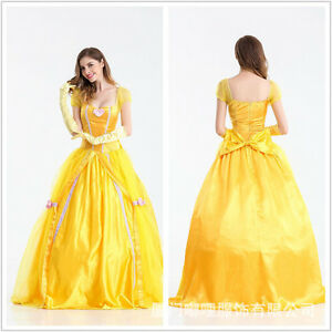 Halloween Costume Princess Dress Belle party Cosplay Womens Adult ...