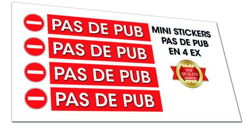 X4 Mini Autocollants Stickers PAS DE PUB STOP PUB 6x1cm