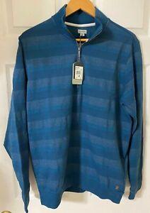 NWT-Ashworth-Men-039-s-Stripe-Half-Zip-Sweater-Color-blue-AM4106S7-Size-M