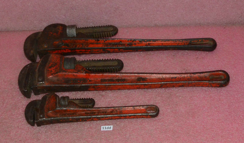 Vintage Adjustable Pipe Wrench Lot__2x RIGID 18  & 10 __1x FULLER 18 .