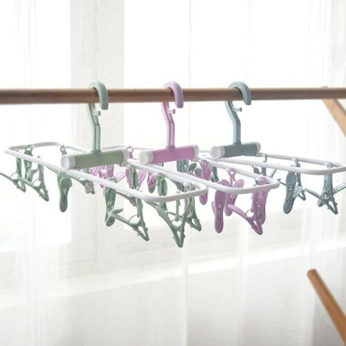 12 Clip Folding Hanger Underwear Socks Clip Windproof Non-slip Home Portable