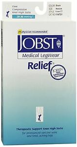 JOBST-Relief-Knee-High-Socks-Firm-Compression-20-30-mmHg-M-Black-1-Pair-3-pack