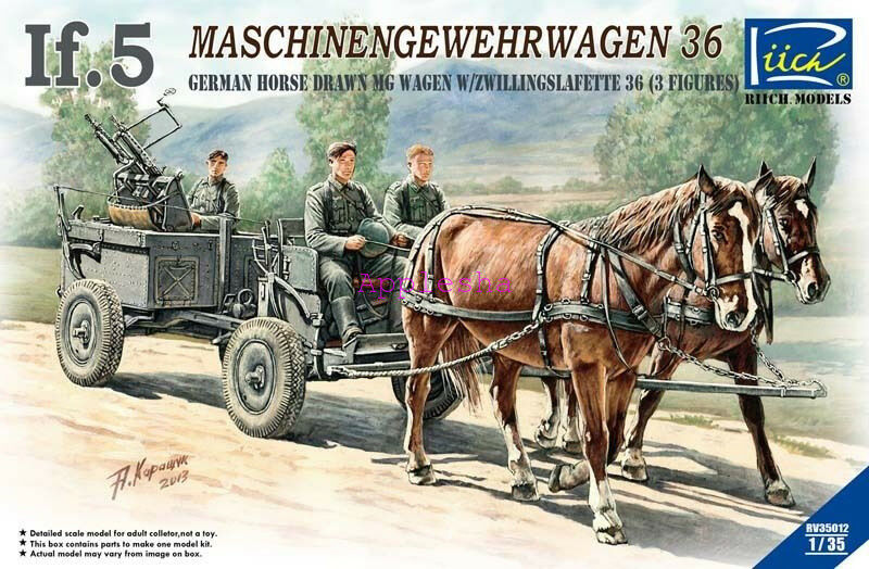 Riich RV35012 1 35 German Horse Drawn MG Wagen w Zwillingslafette 36 (3 Figures)