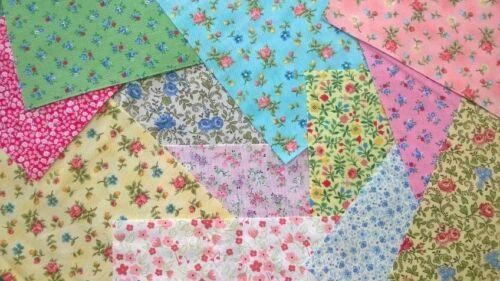 Small Floral Flower fabric scraps Pack remnants patchwork bundles 100/% cotton