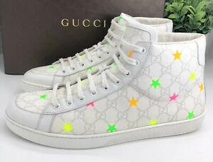 Gucci Authentic GG Supreme Stars High Top Sneakers White 12 US 13/13.5 W/ Box