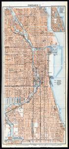Antique Map-CHICAGO I-CITY PLAN-USA-Karl Baedeker-Wagner & Debes ...