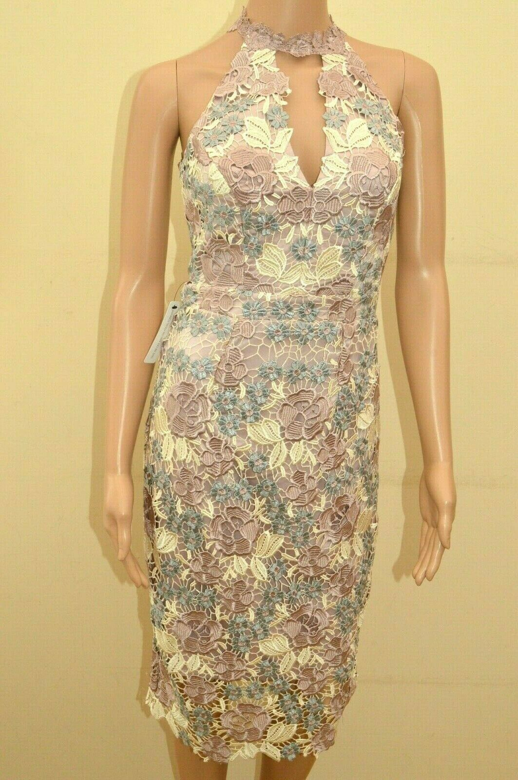 New Lipsy VIP Floral Lace High Neck Lilac Blau Dress Sz UK 6