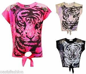 24b41f444 girls adorable cute stylish party baby tiger print t-shirt top age 7-13