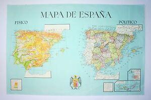 Mapa-fisico-y-politico-de-Espana-Color-S-XX-Physical-and-political-map-of-Spain